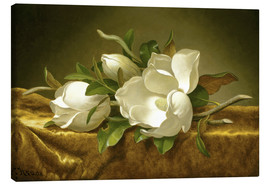 Toile  Magnolias on Gold Velvet Cloth - Martin Johnson Heade