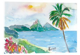 Tableau en verre acrylique  St Lucia Caribbean Dreams With Sunset and Pitons Peaks - M. Bleichner