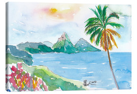 Tableau sur toile  St Lucia Caribbean Dreams With Sunset and Pitons Peaks - M. Bleichner