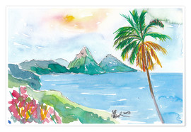 Poster  St Lucia Caribbean Dreams With Sunset and Pitons Peaks - M. Bleichner