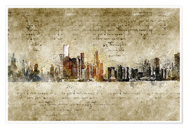 Poster  Chicago skyline in modern abstract vintage look - Michael artefacti