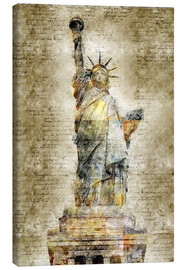 Tableau sur toile  Statue of liberty New York in modern abstract vintage look - Michael artefacti