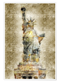 Poster  Statue of liberty New York in modern abstract vintage look - Michael artefacti