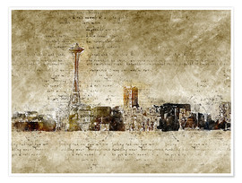 Poster  Seattle skyline in modern abstract vintage look - Michael artefacti