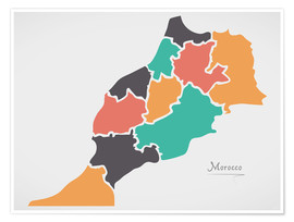 Poster Morocco map modern abstract with round shapes