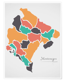 Poster  Montenegro map modern abstract with round shapes - Ingo Menhard
