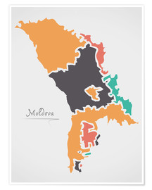 Poster  Moldova map modern abstract with round shapes - Ingo Menhard