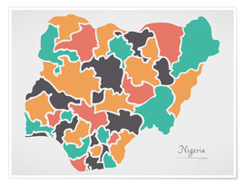 Poster Nigeria map modern abstract with round shapes