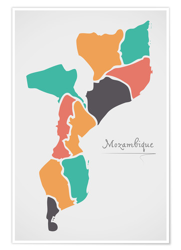 Poster Mozambique map modern abstract with round shapes