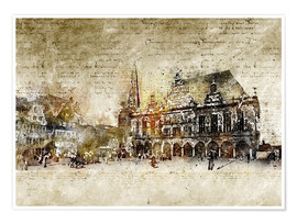 Poster  Bremen market marketplace modern and abstract - Michael artefacti