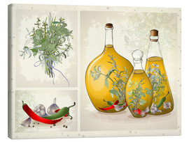 Toile  Kitchen herbs collage