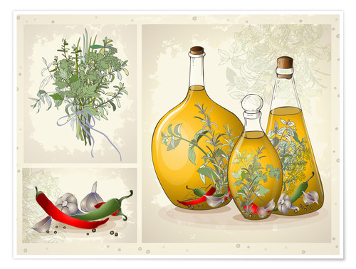 Poster Herbes aromatiques, collage