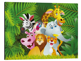 Tableau en aluminium  Les animaux de la jungle - Kidz Collection