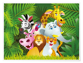 Poster Les animaux de la jungle