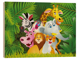 Tableau en bois  Les animaux de la jungle - Kidz Collection