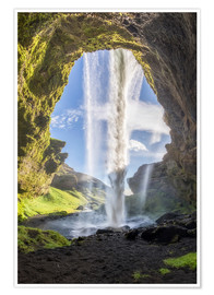 Poster  Kvernufoss waterfall in south of Iceland - Dieter Meyrl
