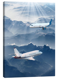 Tableau sur toile  Two aircrafts over the mountains