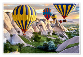 Poster  Hot air balloons over Goreme tuff rock formations - imageBROKER