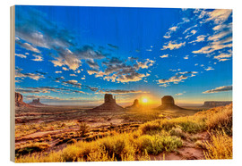 Tableau en bois  Sunrise, mesas West Mitten Butte