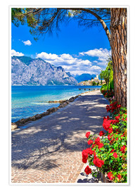 Poster  Beautiful Lago di Garda panoramic view, Italy