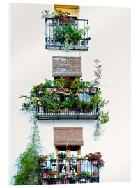 Verre acrylique  Facade with balconies full of flowers in Valencia