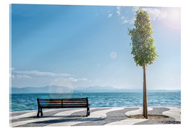 Verre acrylique  Shore of Lake Garda with Alps on the horizon