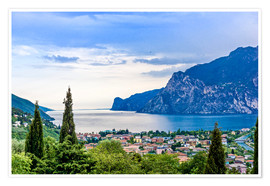 Poster  View of Riva Del Garda and Lake Garda, Lombardy, Italy
