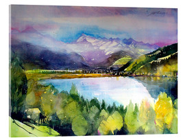 Tableau en verre acrylique  View to Lake Zell - Johann Pickl