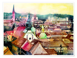 Poster Graz, view to the cathedral