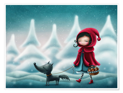 Poster Little red riding hood and the wolf