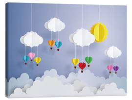 Tableau sur toile  Balloon ride in the clouds - Kidz Collection
