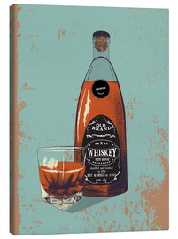 Tableau sur toile  Whiskey bottle and glass