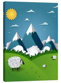 Tableau sur toile  Paper landscape with sheep - Kidz Collection