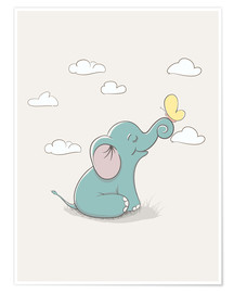 Poster Little elephant with butterfly