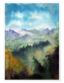 Poster Mountain panorama watercolor
