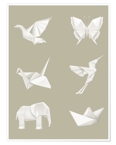Poster Animaux en origami