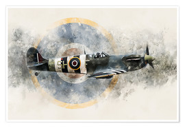 Poster  Spitfire AB910 - airpowerart