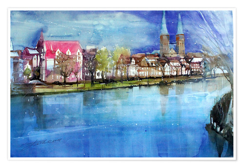 Poster Lübeck, painter angle with cathedral