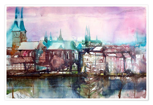 Poster Lübeck, view from the millpond