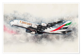 Poster  Emirates A380 - airpowerart