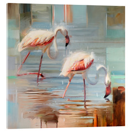 Verre acrylique  Flamants Sarde II - Johnny Morant