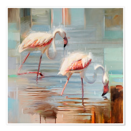 Poster Flamants roses II