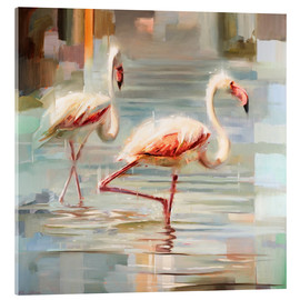 Verre acrylique  Flamants de Sardaigne - Johnny Morant