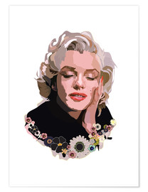 Poster Marilyn Monroe With Flowers