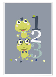 Poster  Frogs playing with numbers - Jaysanstudio