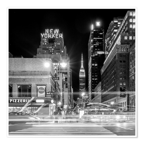 Poster Ninth Ave, New Yorker * Empire State Building (monochrome)