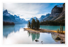 Poster Famous Spirit Island on lake Maligne, Canada