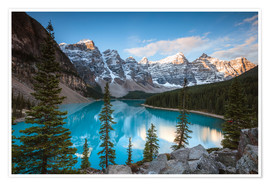 Poster  Sunset over lake Moraine, Banff, Canada - Matteo Colombo