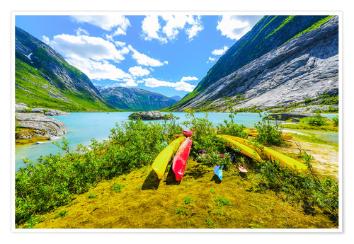 Poster Canoes and mountain scenery