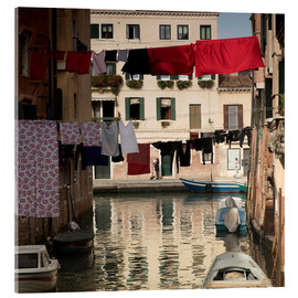 Tableau en verre acrylique  Washing lines in Venice, Italy - Alex Saberi